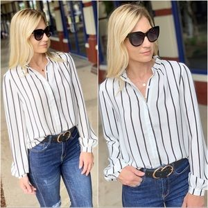 Ivory and black pin stripe button up
